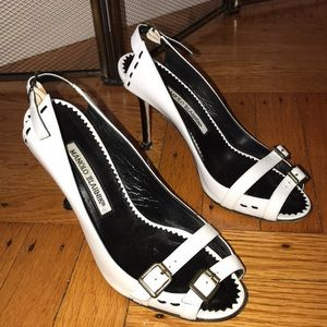 Monolo White Strappy Styled Heels